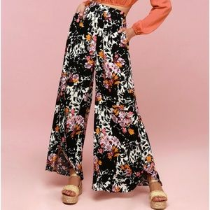 Free People Palazzo Pants Midnight Floral Small